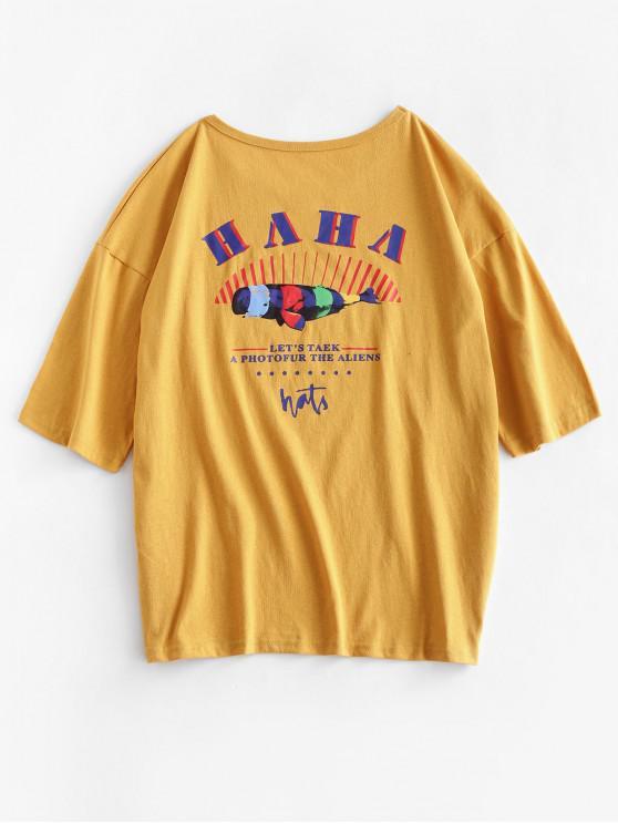 chic ZAFUL Basic Slogan Funny Graphic Tee - BEE YELLOW XL