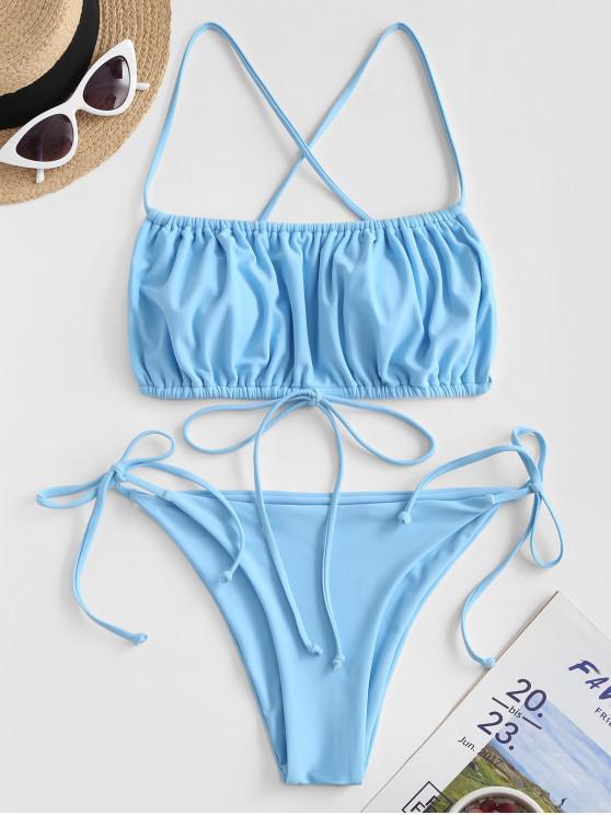 ZAFUL Maillot de Bain Bikini Croisé Noué à Côté à Volants - Bleu Cristal L