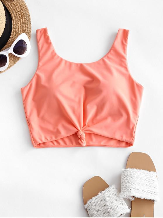 shops ZAFUL Knotted Padded Plain Swim Top - ORANGE PINK XL