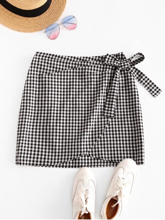 shop Bowknot Gingham Overlap Skirt - MULTI-A XL