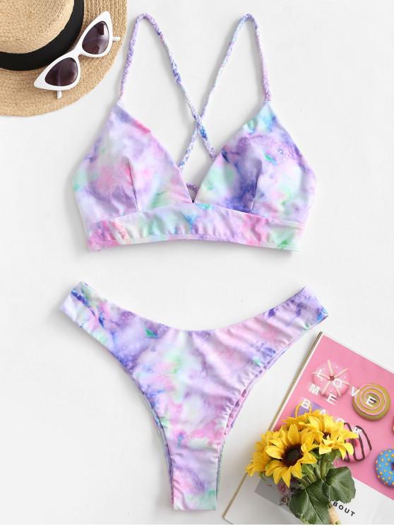Bikini di Tie-Dye con Lacci di ZAFUL - Multi Colori-A S