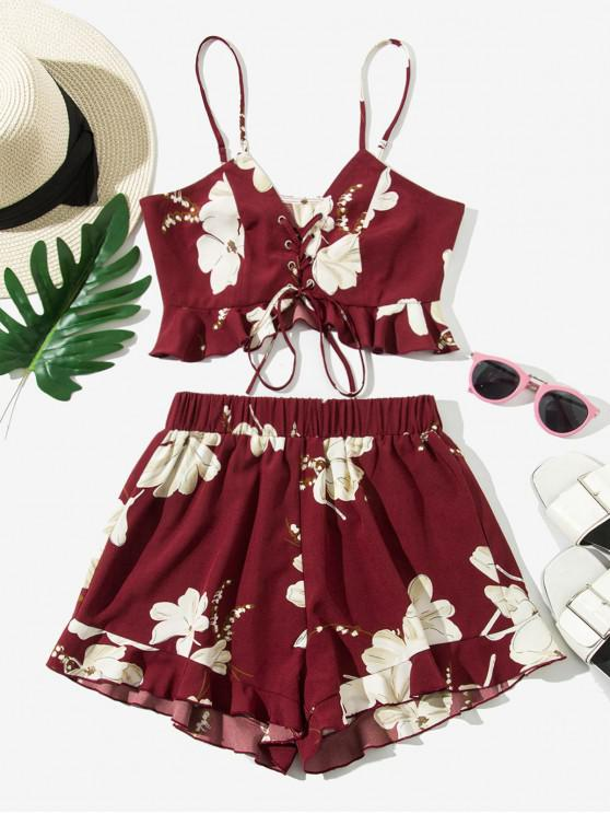 fashion ZAFUL Peplum Hem Floral Lace Up Two Piece Set - RED WINE S