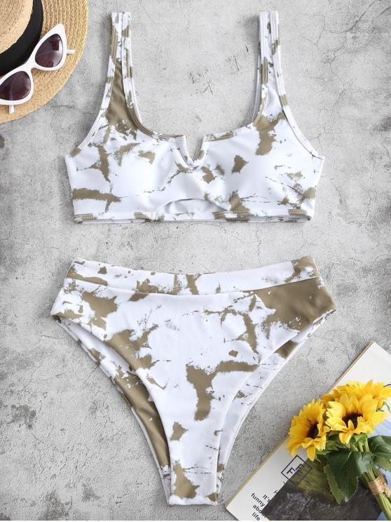 shop ZAFUL Tie Dye V-notch High Waisted Bikini Swimsuit - WHITE M