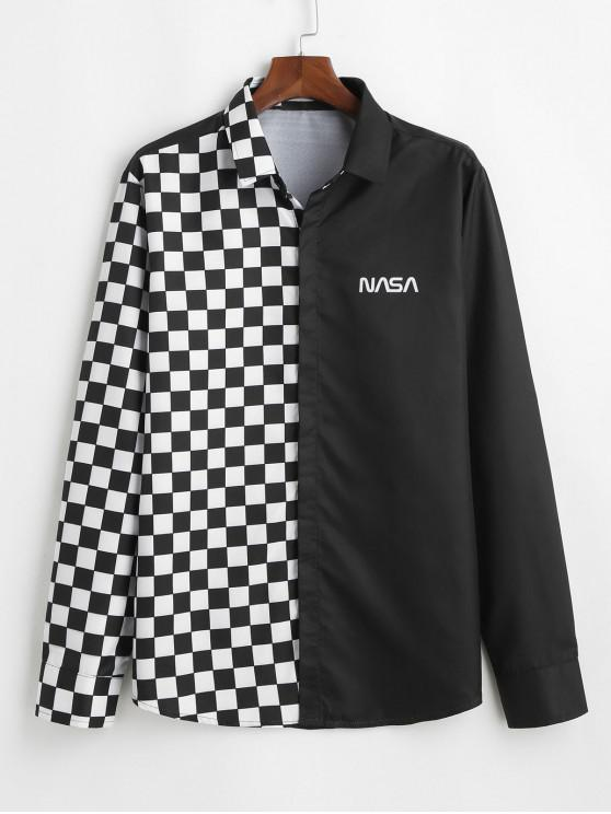 Camisa a Cuadros Panel Letras Botón - Negro L