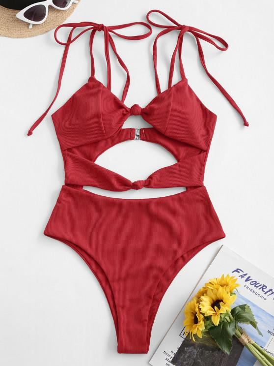 buy ZAFUL Ribbed Knot Tie Shoulder High Cut Swimsuit - RED XL