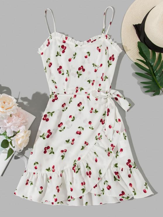 lady ZAFUL Cherry Print Ruffles Overlap Cami Dress - MILK WHITE M