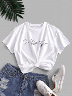 ZAFUL Basic Sketch Gesture Graphic T Shirt - White S