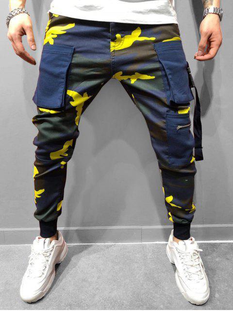 fashion Camo Printed Elastic Waist Jogger Pants - SUN YELLOW M Mobile