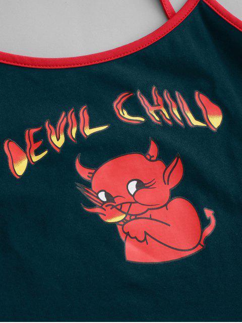 Cartoon Teufel Kinderernte Wecker Cami Spitze - Pfauenblau M Mobile