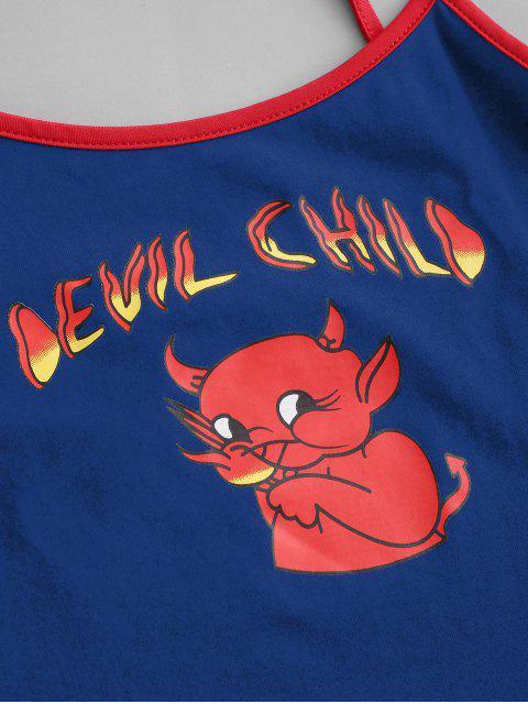 Top Cami Campainha Cortado da Criança do Diabo dos Desenhos Animados - Azul de Lapis M Mobile