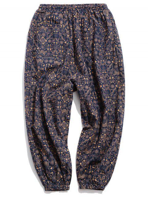 Pantalones Casuales de Estampado Étnico con Cordón - Multicolor-A 4XL Mobile