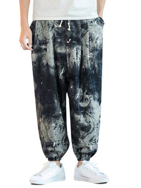 繪畫打印抽繩休閒褲 - 淡藍色 4XL Mobile