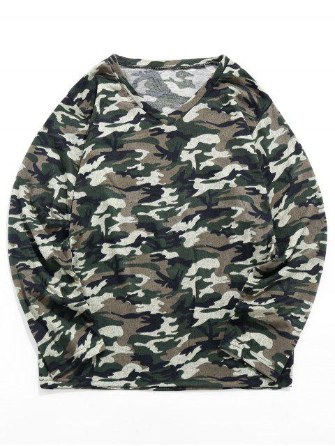 shops Camo Print Long-sleeved Casual T-shirt - MULTI 2XL Mobile