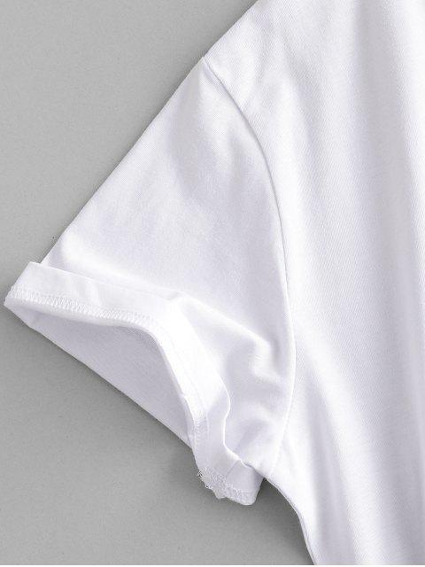 fashion Letter Leaf Print Cotton Short Sleeve Tee - WHITE 2XL Mobile