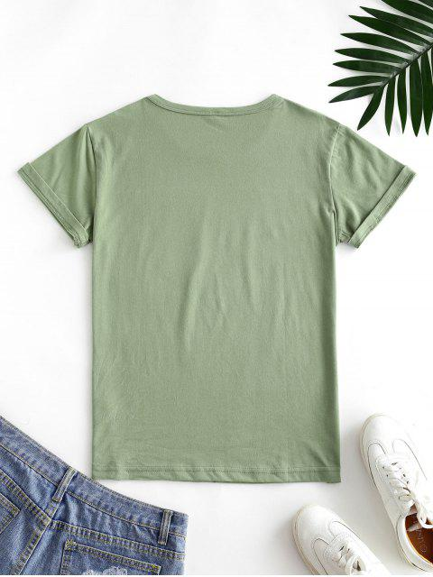 buy Letter Leaf Print Cotton Short Sleeve Tee - LIGHT GREEN S Mobile