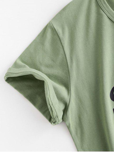 lady Letter Leaf Print Cotton Short Sleeve Tee - LIGHT GREEN M Mobile