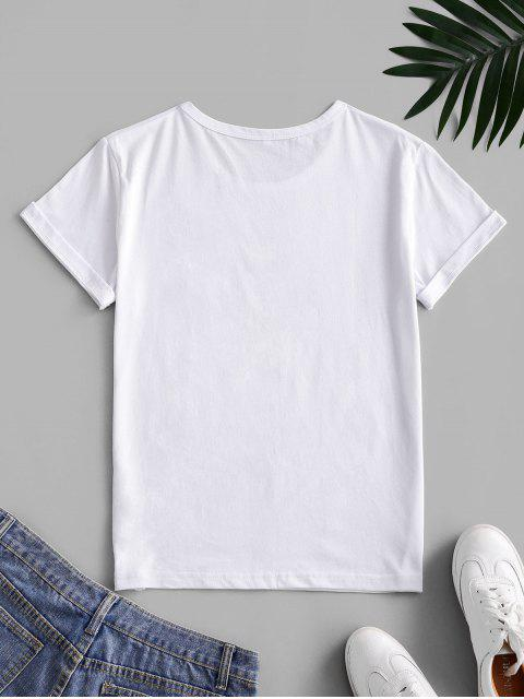 best Letter Leaf Print Cotton Short Sleeve Tee - WHITE S Mobile