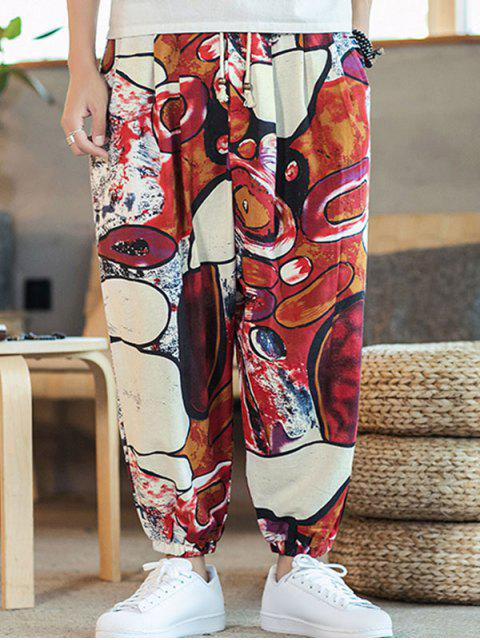 sale Colorful Printed Drawstring Casual Pants - MULTI-A XL Mobile