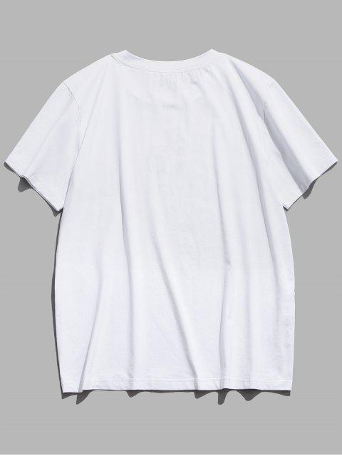 ZAFUL Stickerei Buchstabe Blumen Kurzarm T-Shirt - Weiß L Mobile