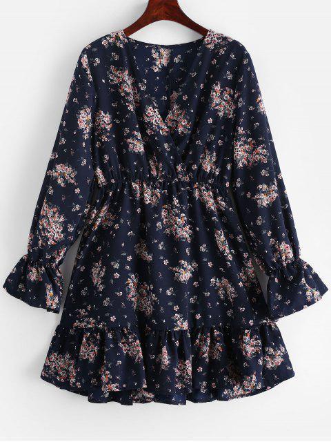 Mini Vestido Manga Larga Estampado Floral - Cadetblue M Mobile