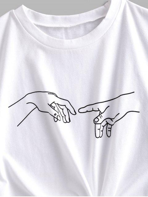 fancy ZAFUL Basic Sketch Gesture Graphic T Shirt - WHITE M Mobile