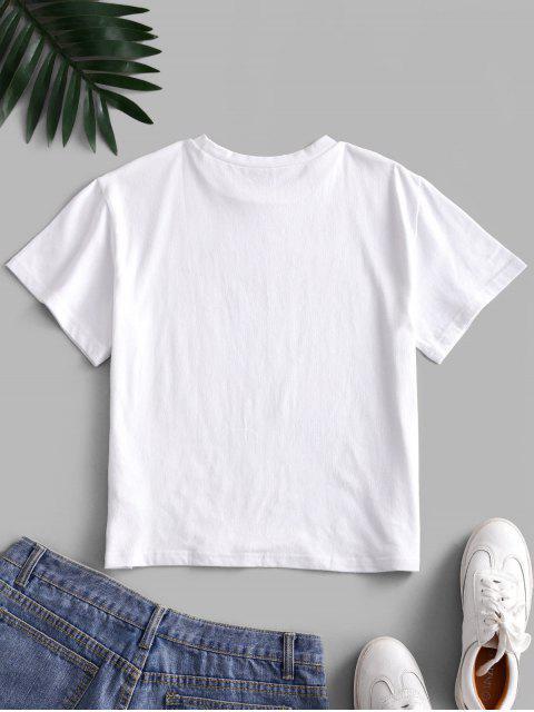 ZAFUL Camiseta Básica con Estampado de Gestura - Blanco XL Mobile