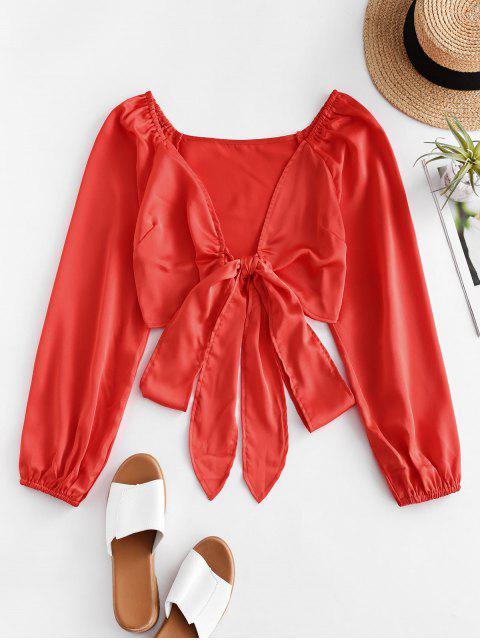 affordable ZAFUL Tie Front Silky Raglan Sleeve Crop Blouse - ORANGE M Mobile