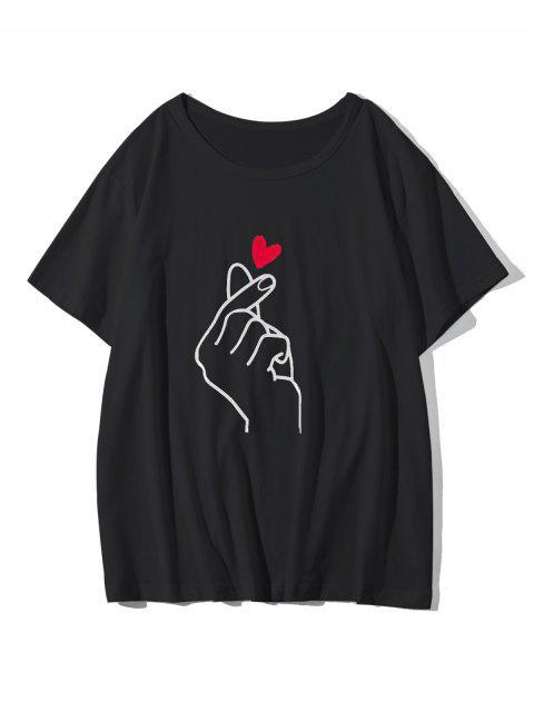 指心臟圖形休閒T卹 - 黑色 M Mobile