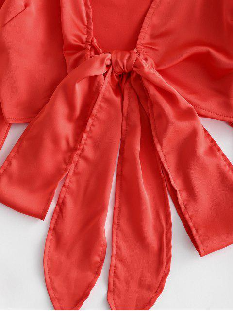 new ZAFUL Tie Front Silky Raglan Sleeve Crop Blouse - ORANGE S Mobile
