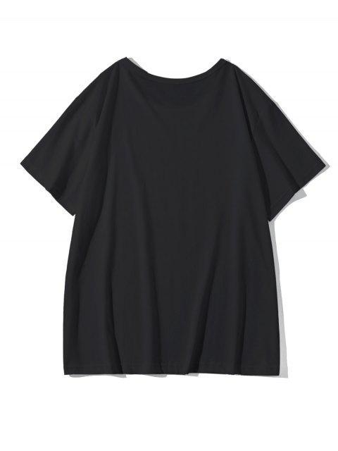 Camiseta Casual de Cuello Redondo con Estampado de Dedo - Negro S Mobile