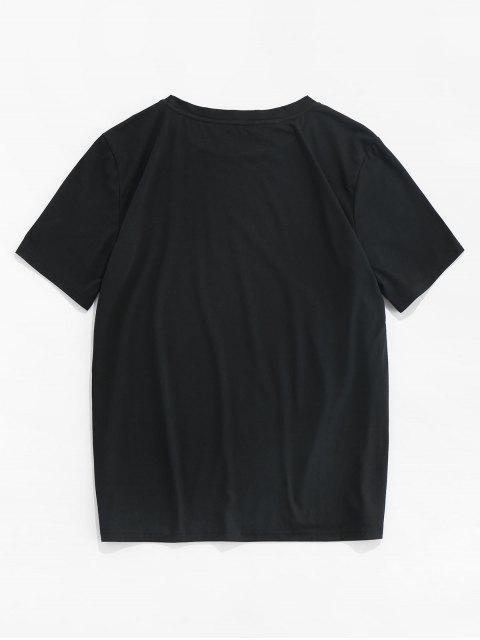 月亮印花短袖T卹 - 黑色 M Mobile