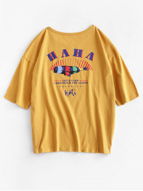 unique ZAFUL Basic Slogan Funny Graphic Tee - BEE YELLOW S Mobile