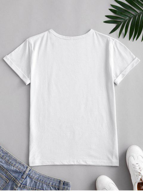 ladies Funny Coconut Tree and Sun Graphic Cotton Tee - WHITE 2XL Mobile
