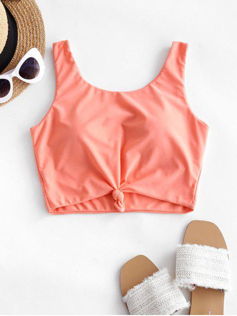 unique ZAFUL Knotted Padded Plain Swim Top - ORANGE PINK S Mobile
