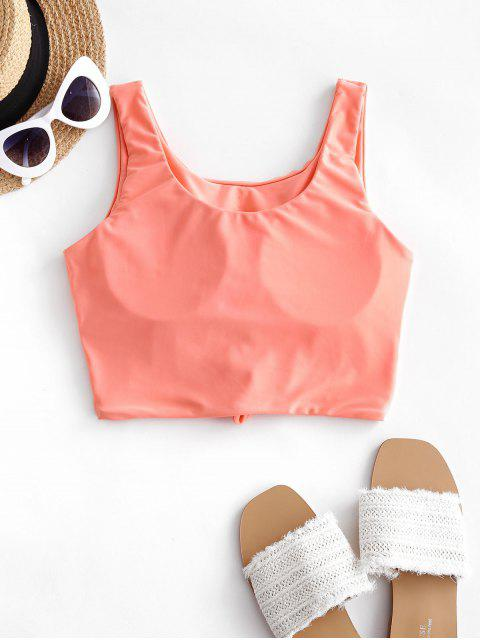 trendy ZAFUL Knotted Padded Plain Swim Top - ORANGE PINK L Mobile