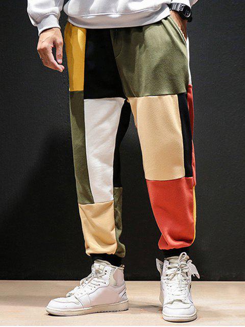 sale Color-blocking Patch Casual Jogger Pants - MULTI 3XL Mobile