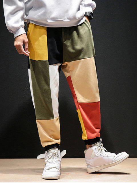 ladies Color-blocking Patch Casual Jogger Pants - MULTI 4XL Mobile
