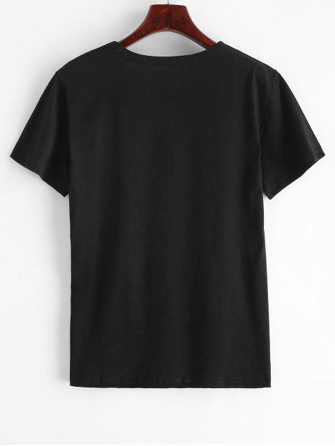 T-shirt Main Imprimée à Manches Courtes - Noir XL Mobile