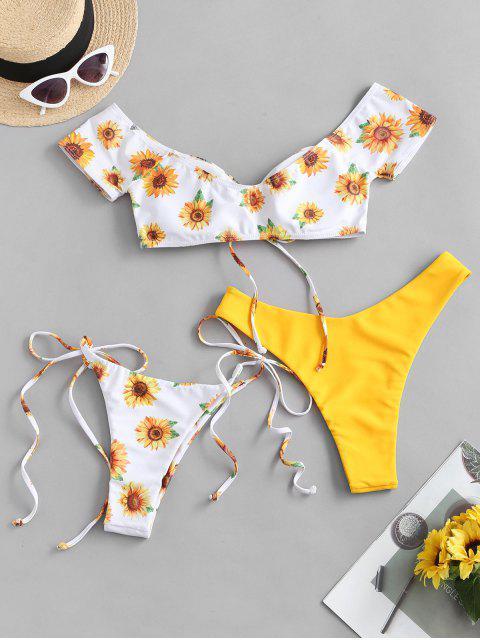 ZAFUL Bikini con Hombros Descubiertos de Girasol - Amarillo Brillante M Mobile