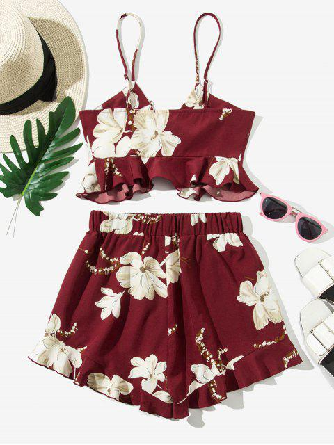 online ZAFUL Peplum Hem Floral Lace Up Two Piece Set - RED WINE L Mobile