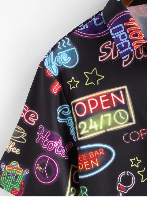 buy Letter Graphic Print Short Sleeves Shirt - BLACK XL Mobile