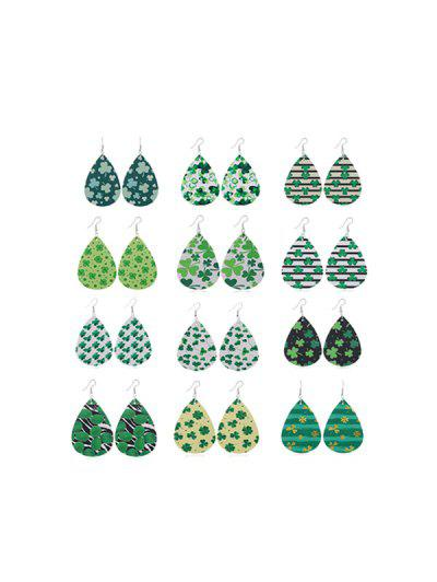 12Pairs Clover Water Drop Earrings Set