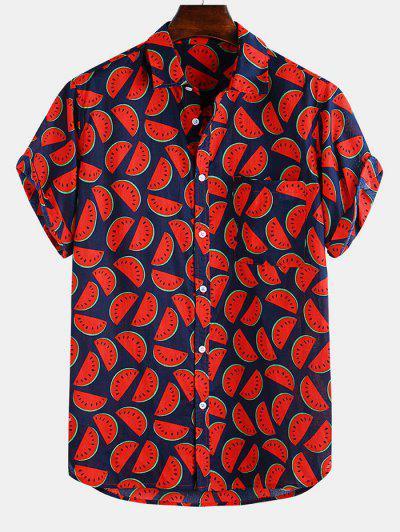 ZAFUL Camisa Con Botón Y Bolsillo De Estampado De Sandía - Rojo Lava M