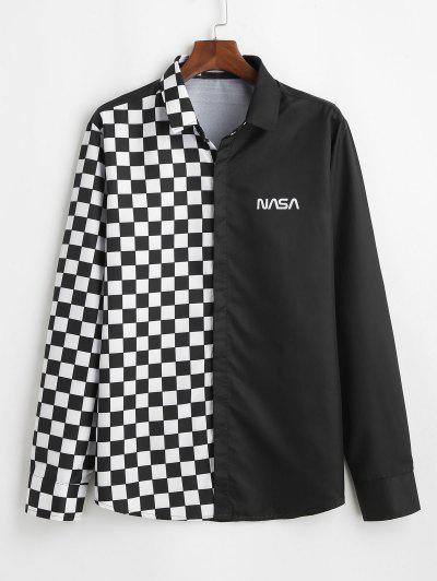Camisa A Cuadros Panel Letras Botón - Negro M