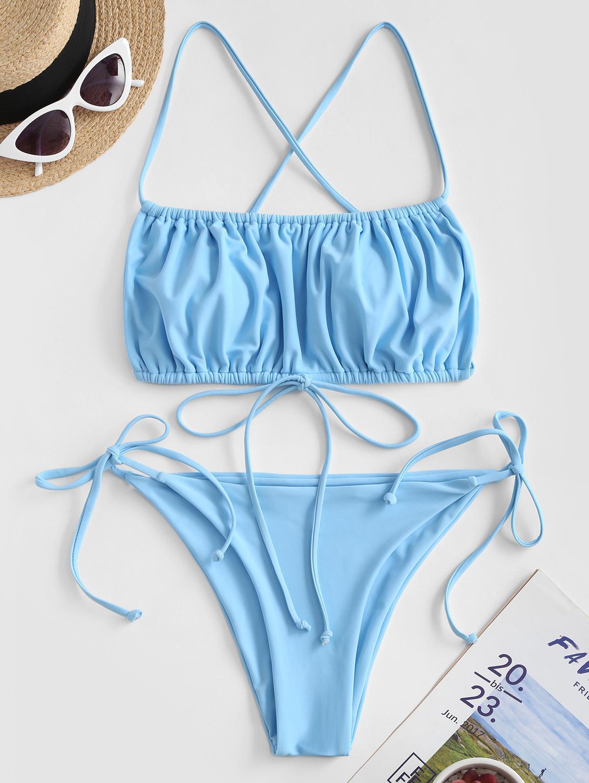 Zaful coupon: ZAFUL Crisscross Ruched Tie Side Bikini Swimsuit