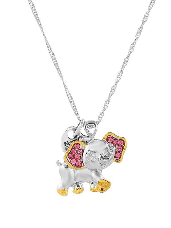 Two Tone Rhinestone Elephant Chain Necklace