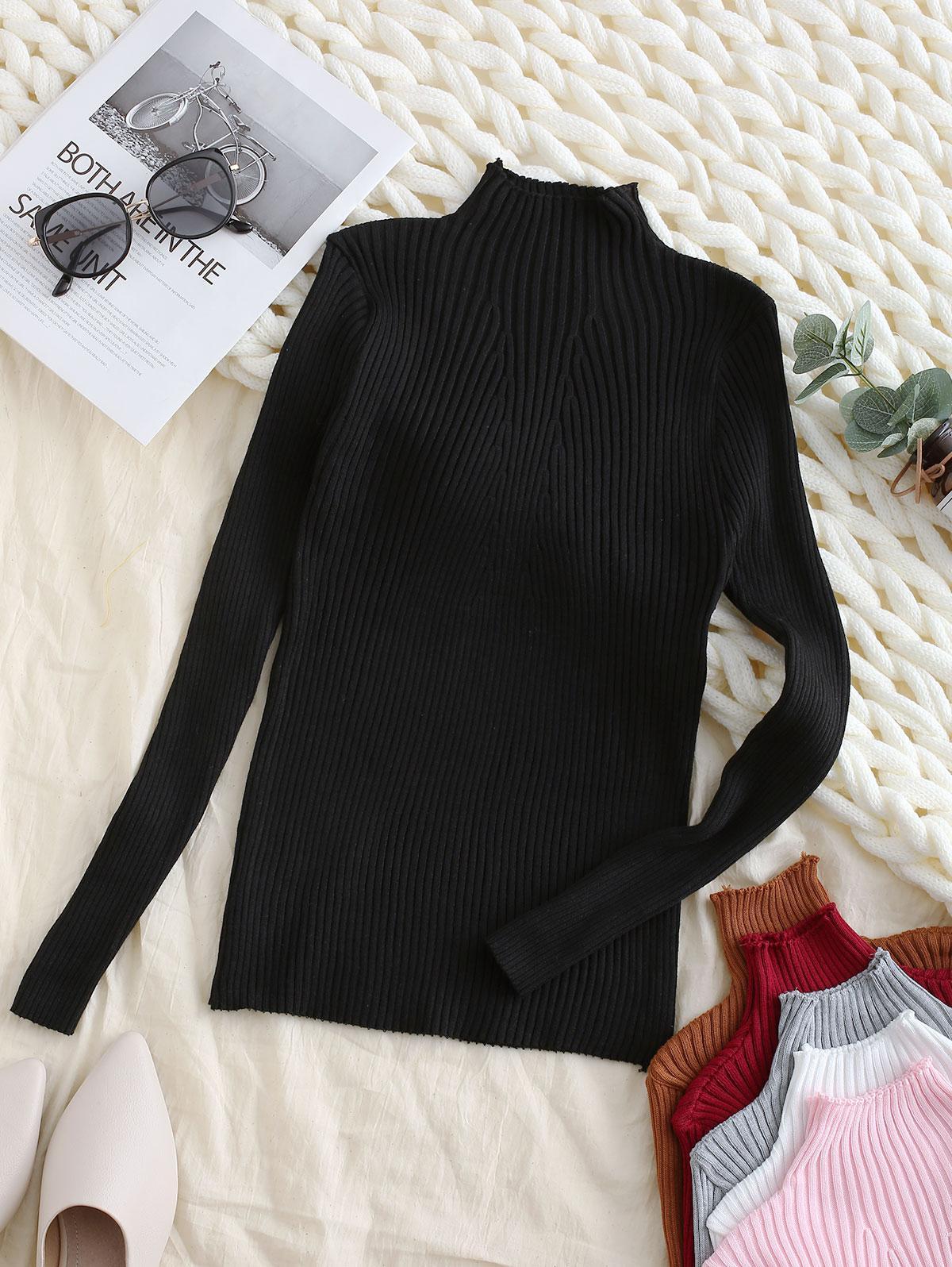 Pullover Mock Neck Plain Slim Sweater