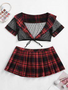 منقط الرباط منقوشة مطوي ملابس مدرسة فتاة حلي - أسود
