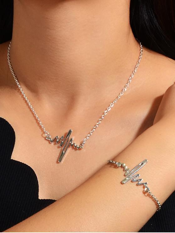 latest Minimalist Electrocardiogram Pendant Chain Necklace And Bracelet - SILVER