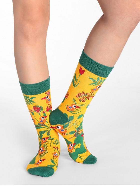 lady Floral Birds Print Crew Socks - ORANGE GOLD